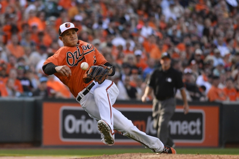 Manny Machado making a throw